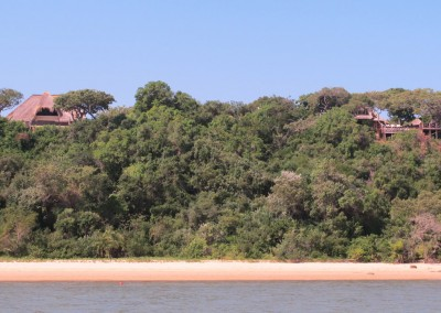 A view from the sea showing Mamaslodge on the left and Nayheeni lodge on the right