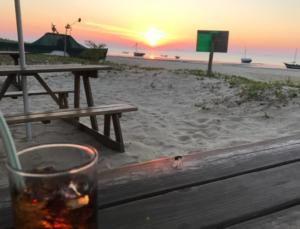 Sundowners at the beach bar on Inhaca Island